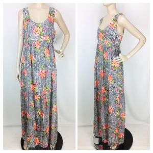 Johnny Was Silk Floral Check Tiered Maxi Dress
